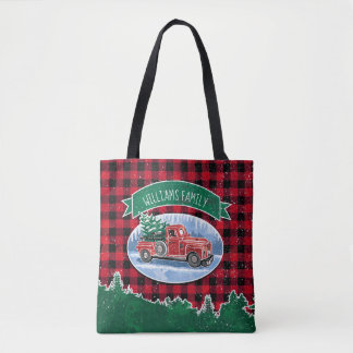 Christmas Vintage Truck Add Name Tote Bag