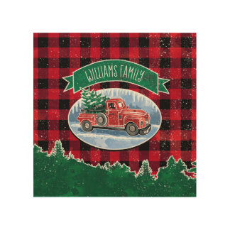 Christmas Vintage Truck Add Name Wood Wall Art