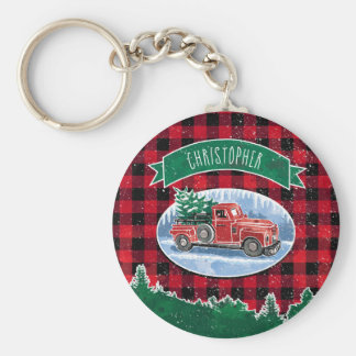 Christmas Vintage Truck Personalized Key Ring