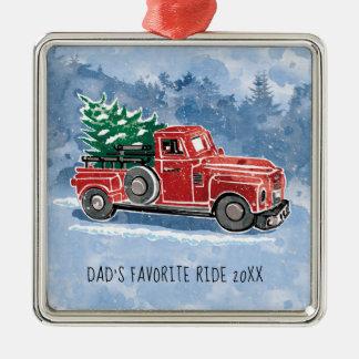 Christmas Vintage Truck Scene Christmas Ornament