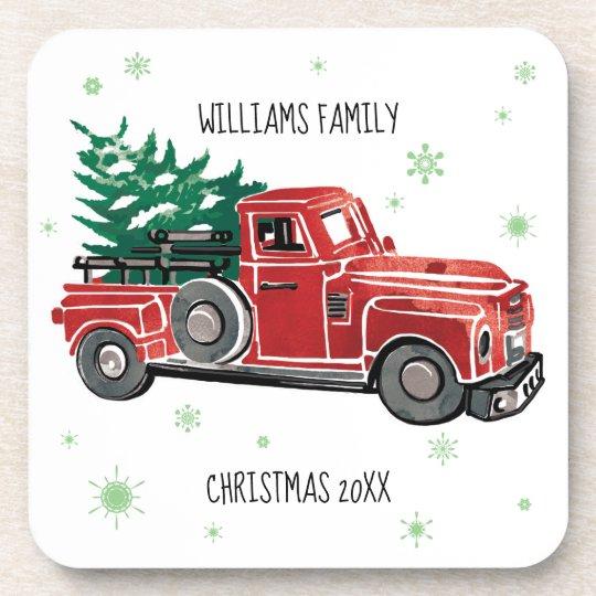Christmas Vintage Truck w/ Snowflakes Coaster