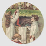 Christmas Vintage Victorian Children Stockings Sti Round Sticker
