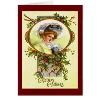 Christmas Vintage Victorian Lady in Holly Custom Card