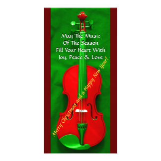 Christmas Violin Photo Greeting Card