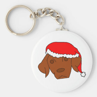 Christmas Vizsla Basic Round Button Key Ring