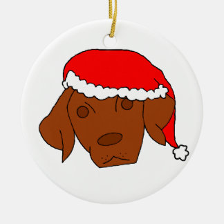 Christmas Vizsla Round Ceramic Decoration