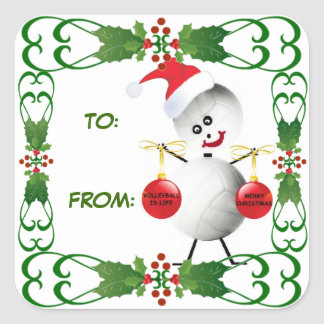 Christmas Volleyball Gift Tag Square Sticker