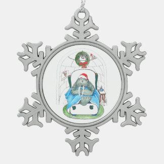 Christmas Walrus and Igloo Slumber Santa Designed Snowflake Pewter Christmas Ornament