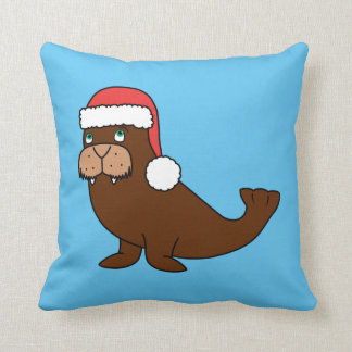 Christmas Walrus with Red Santa Hat Cushion