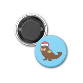 Christmas Walrus with Santa Hat & Gold Bell 3 Cm Round Magnet