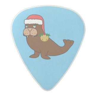 Christmas Walrus with Santa Hat & Gold Bell Acetal Guitar Pick