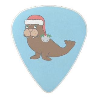 Christmas Walrus with Santa Hat & Silver Bell Acetal Guitar Pick