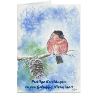 Christmas water-colour card gold finch bird