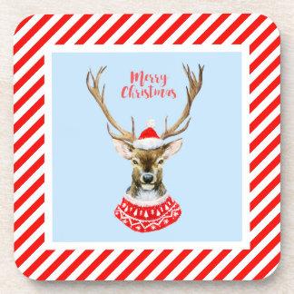 Christmas | Watercolor - Blue Santa Reindeer Coaster