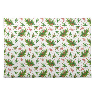 Christmas Watercolor Branches & Berries Pattern Placemat