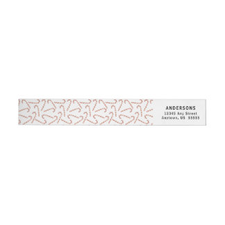 Christmas Watercolor Candy Cane Pattern Wrap Around Label