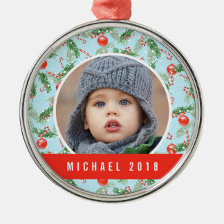 Christmas Watercolor Candy & Pines Pattern Christmas Ornament