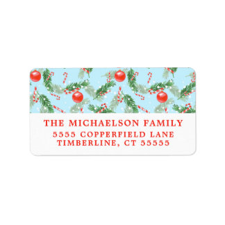 Christmas Watercolor Candy & Pines Pattern Label