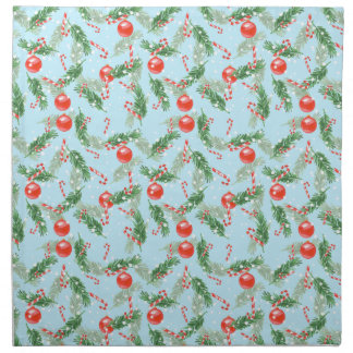 Christmas Watercolor Candy & Pines Pattern Napkin