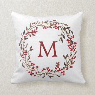 Christmas | Watercolor - Festive Berries Wreath Cushion