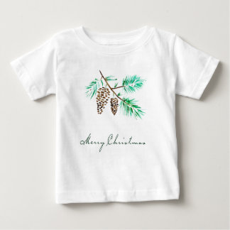 Christmas | Watercolor - Festive Pinecones Quote Baby T-Shirt