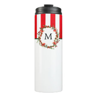 Christmas Watercolor Floral Wreath and Red Stripes Thermal Tumbler