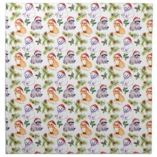 Christmas Watercolor Forest Animals Pattern Napkin
