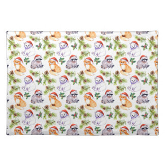 Christmas Watercolor Forest Animals Pattern Placemat