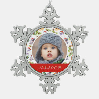 Christmas Watercolor Forest Animals Pattern Snowflake Pewter Christmas Ornament