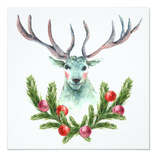 Christmas Watercolor Greeting With Reindeer 13 Cm X 13 Cm Square Invitation Card