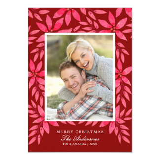 Christmas Watercolor Hand-Painted Poinsettia Card