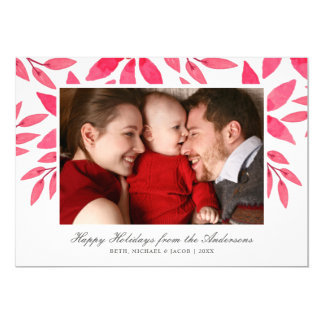 Christmas Watercolor Hand-Painted Poinsettia Photo Card