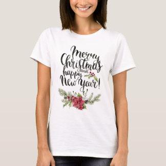 Christmas | Watercolor - Happy New Year Poinsettia T-Shirt