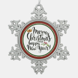 Christmas | Watercolor - Happy New Year Quote Snowflake Pewter Christmas Ornament