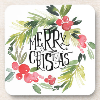Christmas | Watercolor - Holiday Holly Wreath Coaster