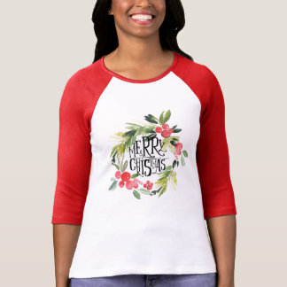 Christmas | Watercolor - Holiday Holly Wreath T-Shirt