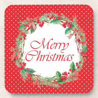 Christmas | Watercolor - Holly & Gingham Bow Wreat Coaster