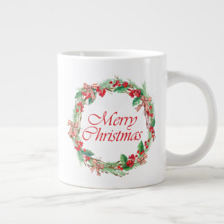Christmas | Watercolor - Holly & Gingham Bow Wreat Large Coffee Mug