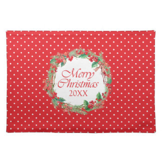 Christmas | Watercolor - Holly & Gingham Bow Wreat Placemat