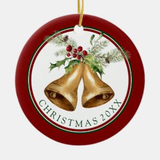 Christmas | Watercolor - Holly Mistletoe & Bells Christmas Ornament