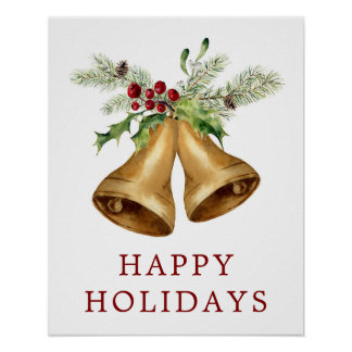 Christmas | Watercolor - Holly Mistletoe & Bells Poster