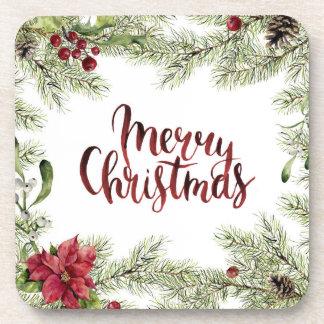 Christmas   Watercolor - Holly & Mistletoe Frame Coaster