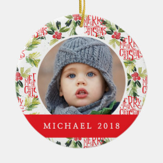 Christmas Watercolor Holly Pattern Christmas Ornament