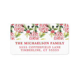 Christmas Watercolor Holly Pattern Label