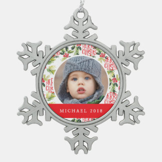 Christmas Watercolor Holly Pattern Snowflake Pewter Christmas Ornament