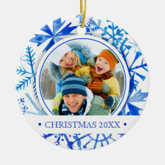 Christmas | Watercolor - Let It Snow Snowflakes Christmas Ornament