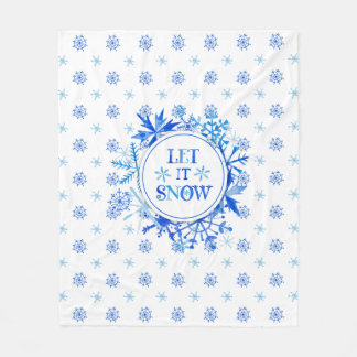 Christmas | Watercolor - Let It Snow Snowflakes Fleece Blanket