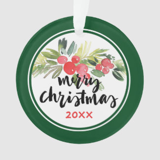 Christmas | Watercolor - Merry Christmas Holly Ornament