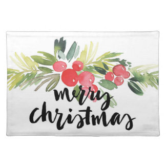 Christmas   Watercolor - Merry Christmas Holly Placemat