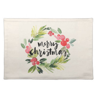 Christmas   Watercolor - Merry Christmas Wreath Placemat